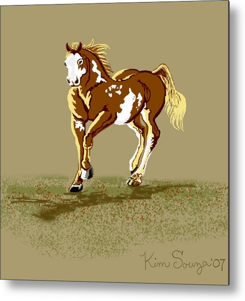 Horses Metal Print featuring the digital art Paint Horse by Kim Souza