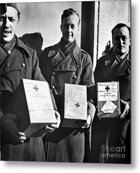1942 Metal Print featuring the photograph Prisoners Of War, C1942 by Granger