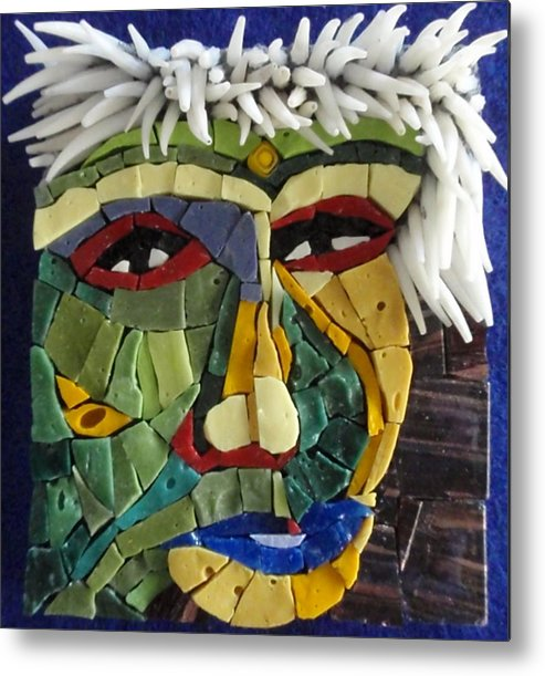 Mosaic Metal Print featuring the painting Punk - Fantasy Face No. 18 by Gila Rayberg
