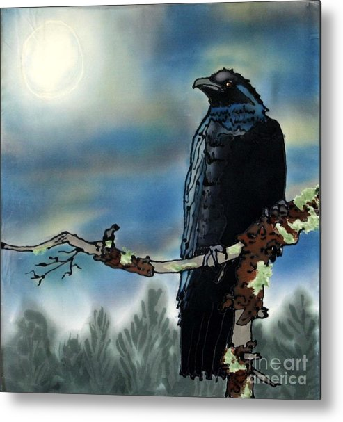 Silk Metal Print featuring the painting Raven Moon by Linda Marcille