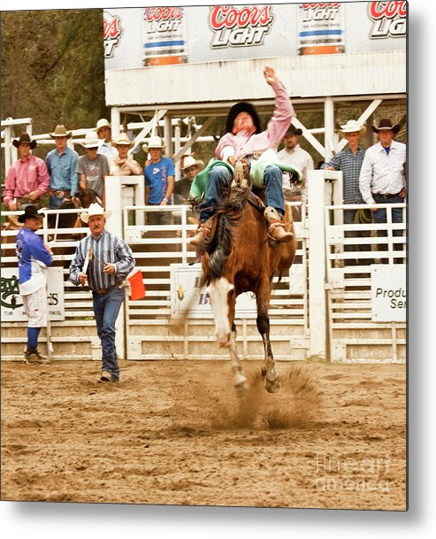 Cowboy Metal Print featuring the photograph Rodeo Cowboy Riding A Bucking Bronco by Mark Hendrickson