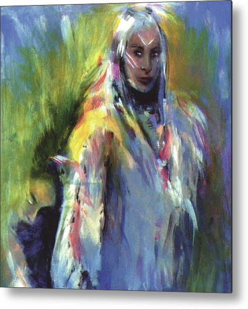 Native American Metal Print featuring the painting Spirit Guide by Elizabeth Silk