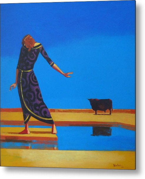 Figure Metal Print featuring the painting The Goddess And The Bull by Ihab Bishai