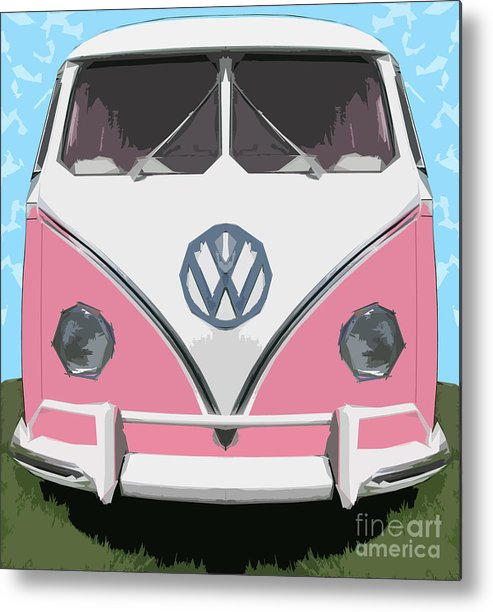 Automobile Metal Print featuring the digital art The Pink Love Bus by Bruce Stanfield