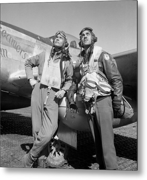 Benjamin Davis Metal Print featuring the photograph Tuskegee Airmen by War Is Hell Store