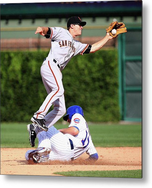 People Metal Print featuring the photograph Kelby Tomlinson And Kris Bryant by Jonathan Daniel