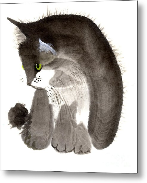 A Kitten Is Looking Attentively. This Is A Contemporary Chinese Ink And Color On Rice Paper Painting With Simple Zen Style Brush Strokes.  Metal Print featuring the painting Kitten by Mui-Joo Wee