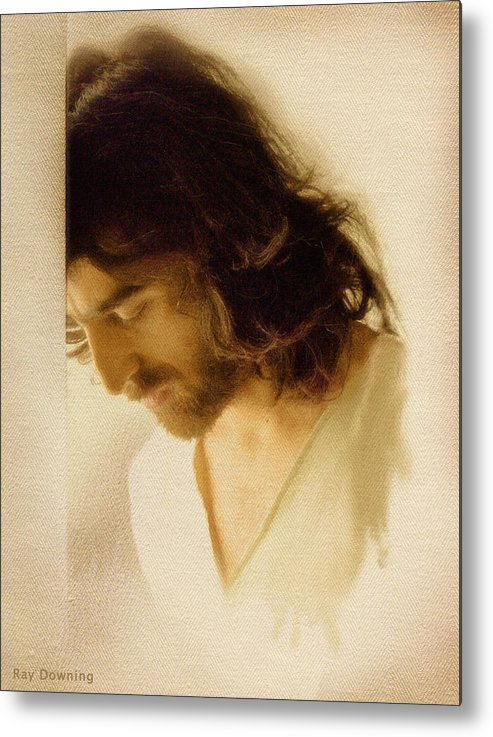 Jesus Metal Print featuring the digital art Jesus Praying by Ray Downing