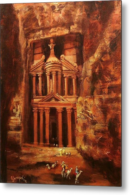 Jordan Metal Print featuring the painting Treasury Of Petra by Tom Shropshire