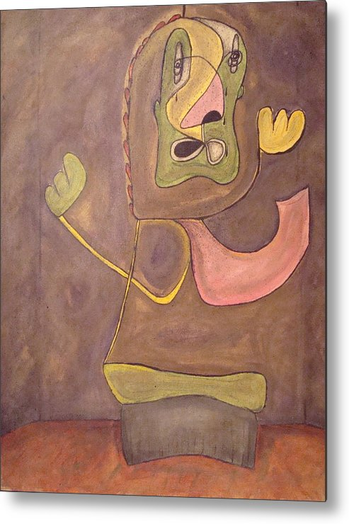 Abstract Face Metal Print featuring the painting Sitting Stone by W Todd Durrance
