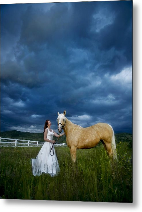 Beautiful Metal Print featuring the photograph Bride And Horse With Storm by Nick Sokoloff