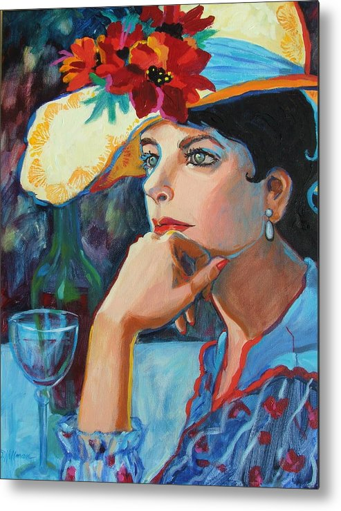 Pretty Lady Metal Print featuring the painting La Chapeau by Dianna Willman