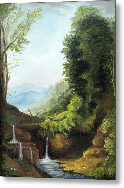 Landscape Metal Print featuring the painting Merlin's Pool by Michael Scherer