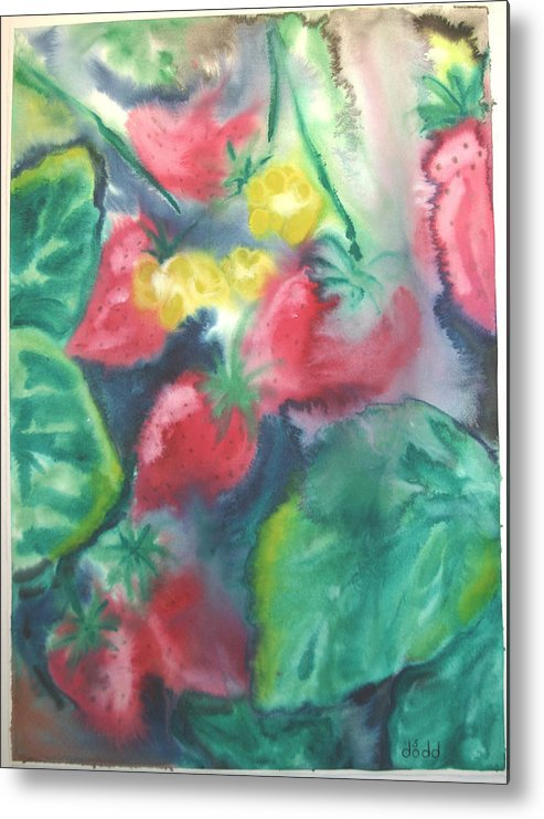 Garden Metal Print featuring the painting Strawberries by Dodd Holsapple