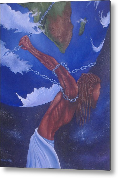 African-american Metal Print featuring the painting The Weight II by Michael Allen