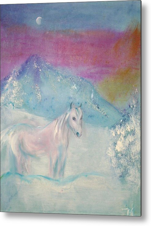 Landscape Metal Print featuring the painting Young Horse On Snowy Mountain by Michela Akers
