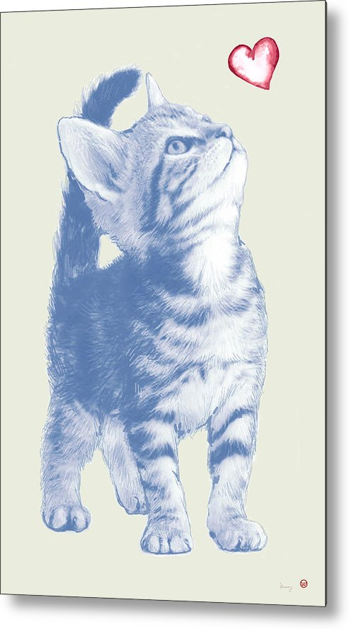 Dog Stylised Pop Morden Art Drawing Sketch Portrait. Pet Metal Print featuring the drawing Cat With Love Hart Pop Modern Art Etching Poster by Kim Wang