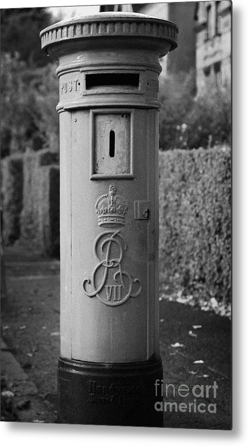 Europe Metal Print featuring the photograph red old historic post pillar box manufactured by Handyside of Derby and London with Edward the seventh crown E Rex and VII symbols by Joe Fox