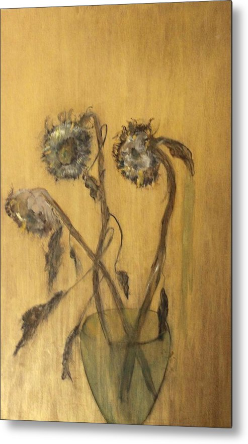 Floral Metal Print featuring the painting Sunflowers On Gold by Michela Akers