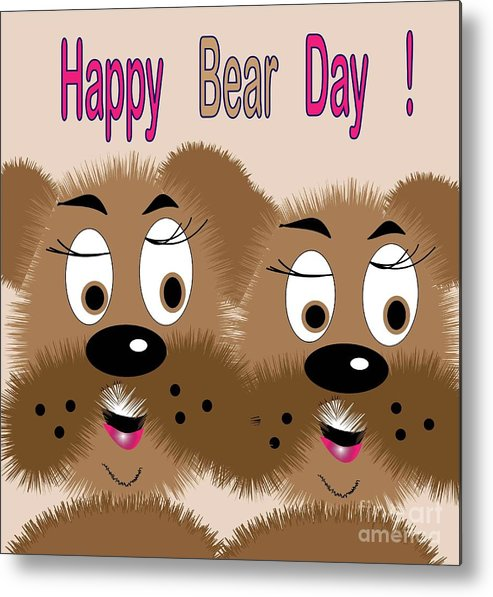 Drawing Metal Print featuring the digital art Bear Day Card by Iris Gelbart