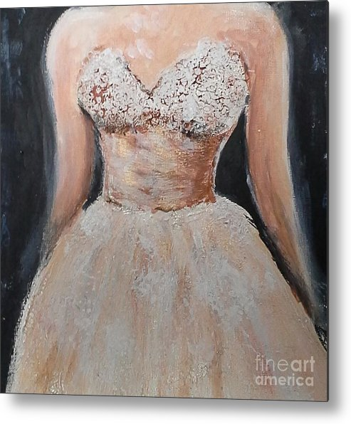 Elizabeth Taylor Metal Print featuring the painting Lacey Dress by Vicki Wynberg