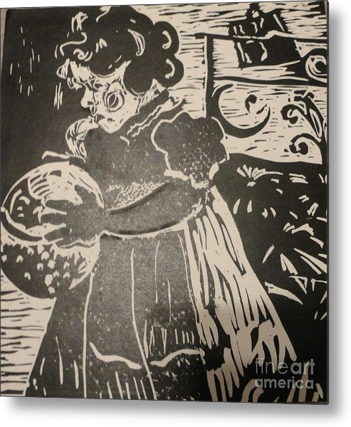 Lino Metal Print featuring the painting Girl's Play by PainterArtist FINs husband Maestro
