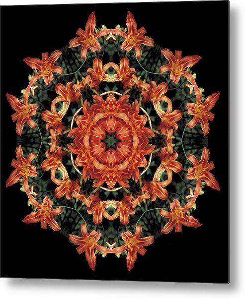 Mandala Metal Print featuring the photograph Mandala Daylily by Nancy Griswold