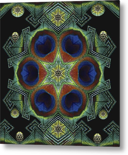 Mandala Metal Print featuring the digital art Mandala Peacock by Nancy Griswold
