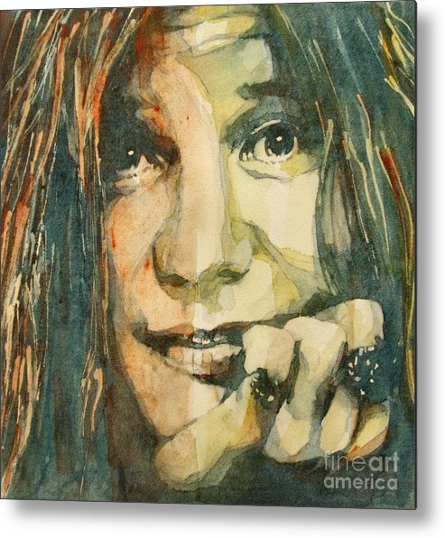 Janis Joplin Metal Print featuring the painting Mercedes Benz by Paul Lovering