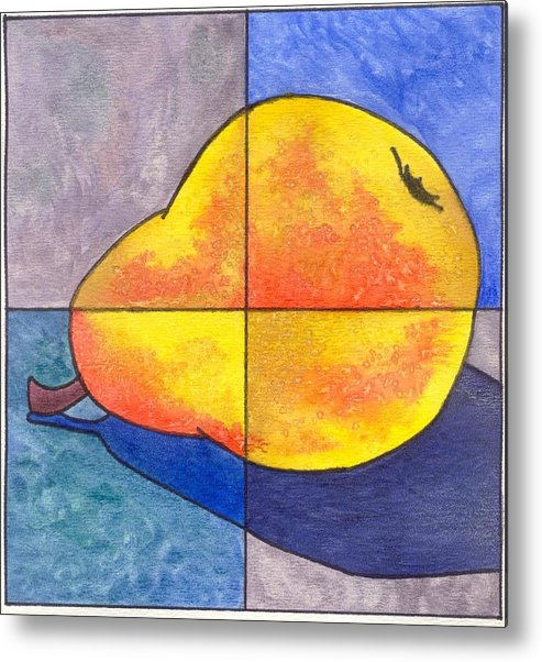 Pear Metal Print featuring the painting Pear I by Micah Guenther