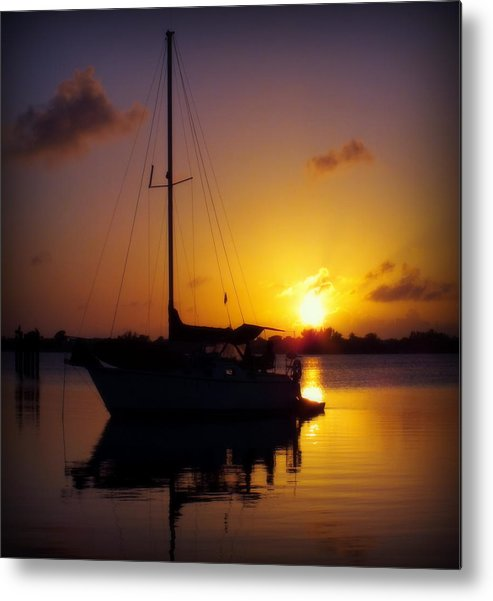 Sailboats Metal Print featuring the photograph Silence Of Night by Karen Wiles