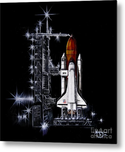 Shuttle Metal Print featuring the painting The Night Before by Murphy Elliott