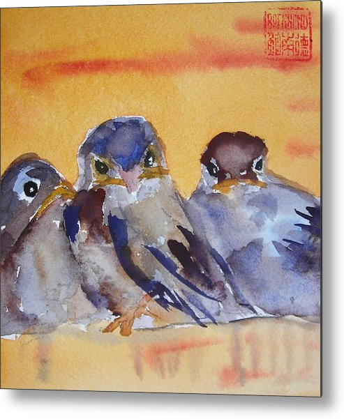 Birds Metal Print featuring the painting Time To Fly by Nancy Brennand