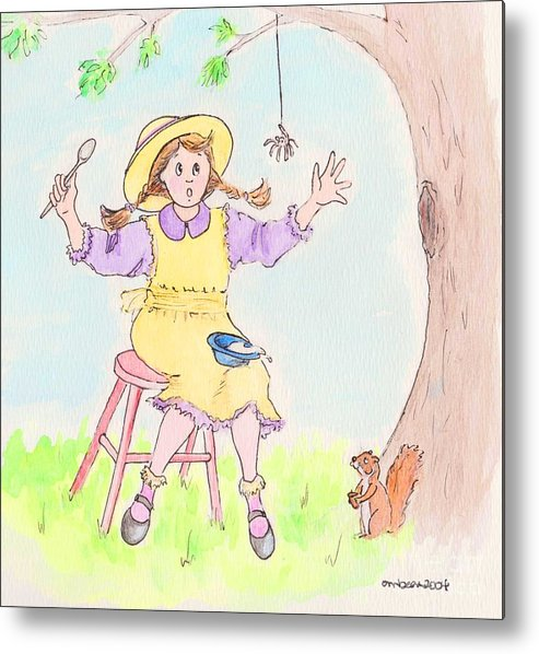 Miss Muffet Spider Squirrel Porridge Metal Print featuring the drawing Along Came A Spider Little Miss Muffet by Marybeth Friel-Patton