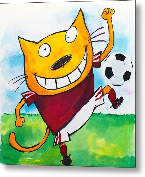 Cat Metal Print featuring the painting Soccer Cat 2 by Scott Nelson