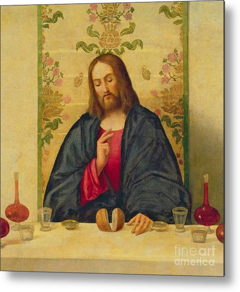 Jesus Metal Print featuring the painting The Supper At Emmaus by Vincenzo di Biaio Catena