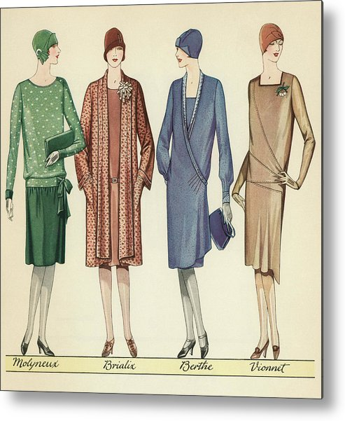 Flapper Metal Print featuring the painting Four Flappers Modelling French Designer Outfits, 1928 by American School