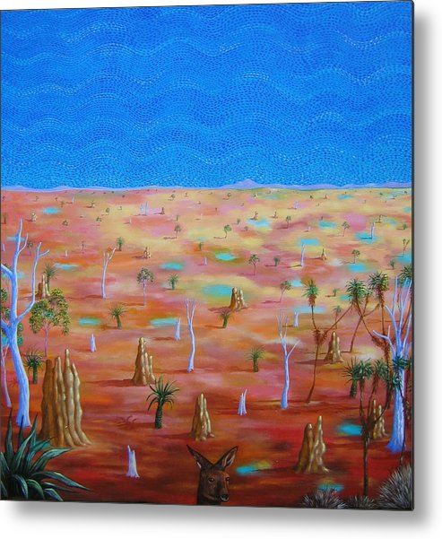 Landscape Metal Print featuring the painting Anthills by Hiske Tas Bain