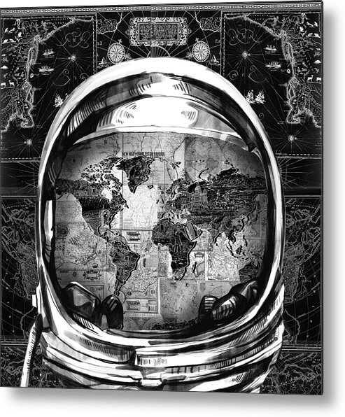 Space Metal Print featuring the painting Astronaut World Map 1 by Bekim M