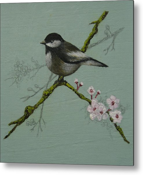 Miniature Metal Print featuring the painting Chickadee by Victoria Heryet