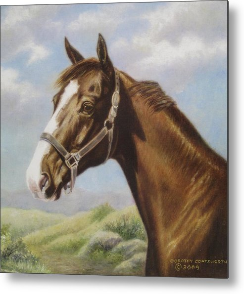 Metal Print featuring the painting Commission Chestnut Horse by Dorothy Coatsworth