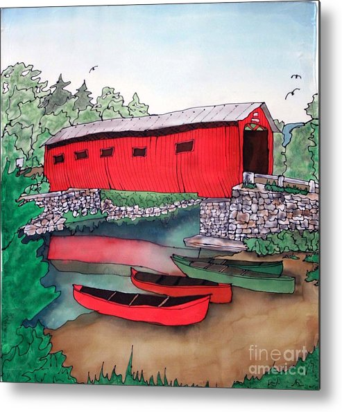 Covered Bridge Metal Print featuring the painting Covered Bridge And Canoes by Linda Marcille