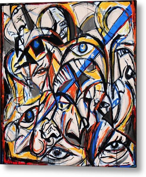 Abstract Metal Print featuring the painting Dwin Deablo by Jon Baldwin Art