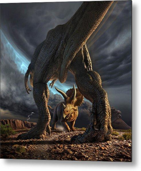Dinosaur Metal Print featuring the digital art Face Off by Jerry LoFaro