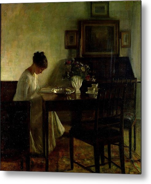 Girl Metal Print featuring the painting Girl Reading In An Interior by Carl Holsoe
