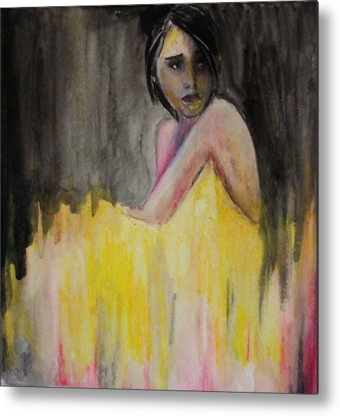 Lady In Yellow Metal Print featuring the painting Lady In Yellow by Devon Ingram