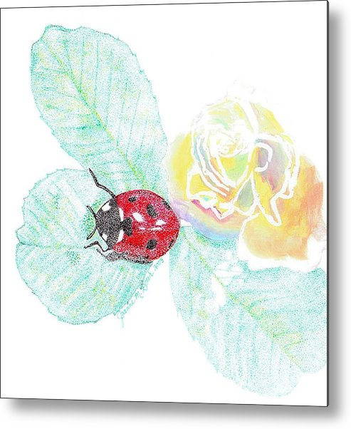 Rose And Ladybug Metal Print featuring the drawing Ladybug by Joanne Dour