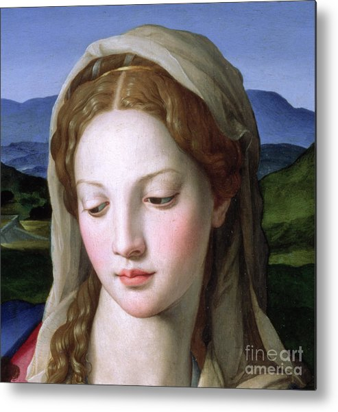 Holy Metal Print featuring the painting Mary by Agnolo Bronzino