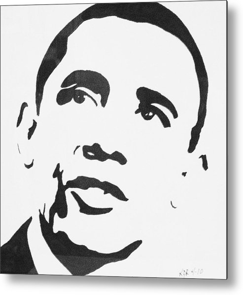 Barak Obama Metal Print featuring the drawing Obama by Kenneth Regan