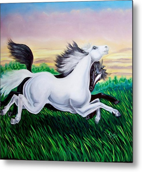 Horses Metal Print featuring the painting Running Free by Kathern Welsh
